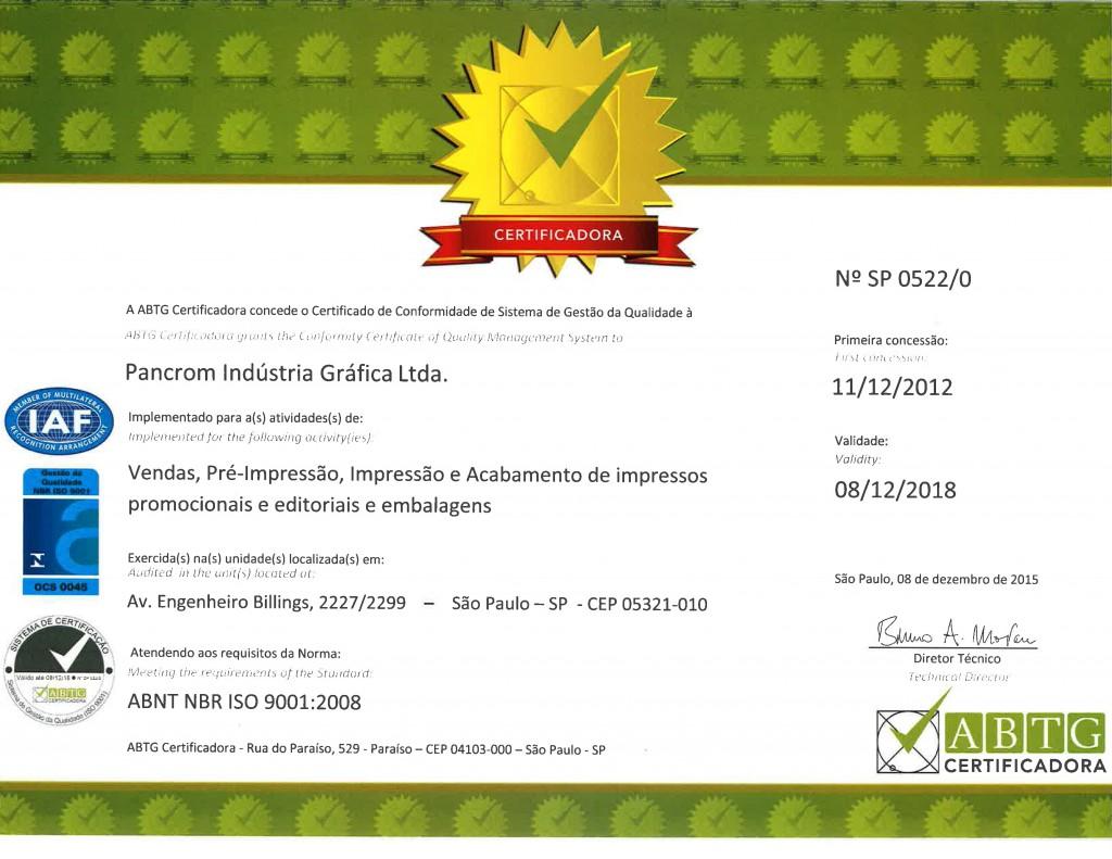 CERTIFICADO ISO-9001 - 2015 - 2018